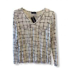 Blusa decote careca com vezinho off white estampada
