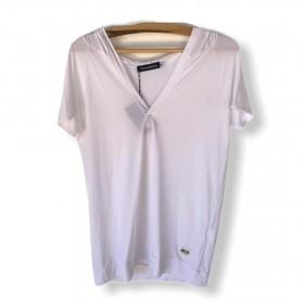 Blusa decote V com capuz  branca