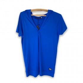 Blusa decote V com capuz  azul
