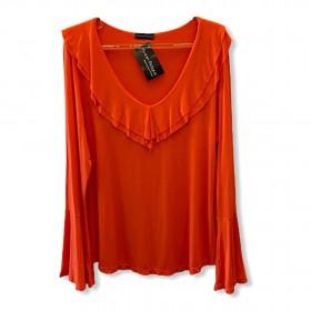 Blusa decote V manga longa laranja