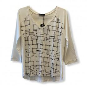 Blusa decote V manga raglan 3/4 branca estampa frente