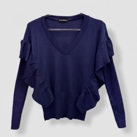Blusa Etiene com babado azul