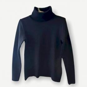 Blusa gola rolê preta tricot