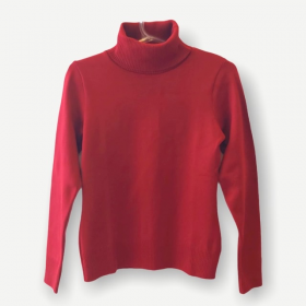 Blusa gola rolê vermelha tricot