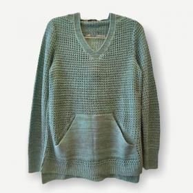 Blusa Bianca capuz e bolso verde tricot