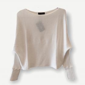 Blusa cropped canelada off white tricot