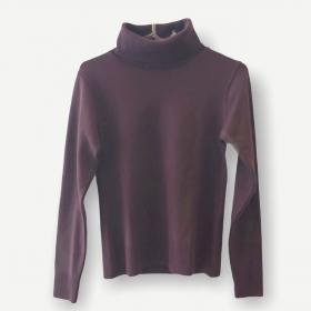 Blusa gola rolê marrom tricot