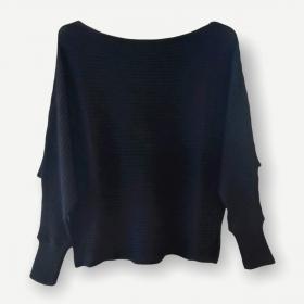 Blusa cropped canelada preta tricot