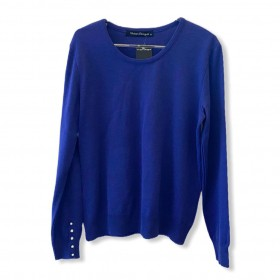 Malha tricô azul com detalhe pérolas nos punhos