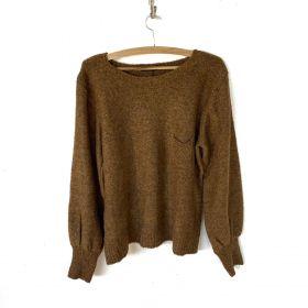 Blusa tricô bolsinho cor caramelo