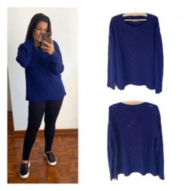 Malha tricô losangos preta / azul