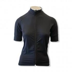 Blusa ziper ciclismo em tecido de compressão preta