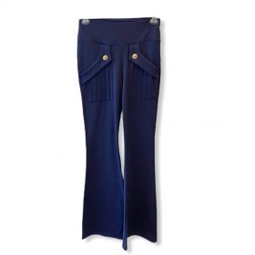 Calça flare detalhe bolsos (preta/azul)