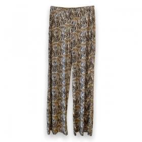 Calça pantalona em malha fria com bolsos laterais