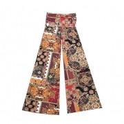Calça pantalona em malha fria estampa marrom e laranja