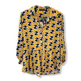 Camisa malha fria estampada amarela
