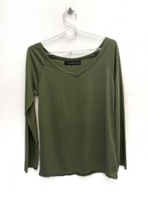 Camiseta decote V manga longa verde secagem rápida