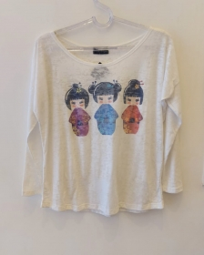 Camiseta devorê manga longa kokeshi