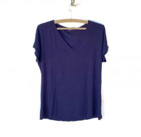 Camiseta V azul marinho