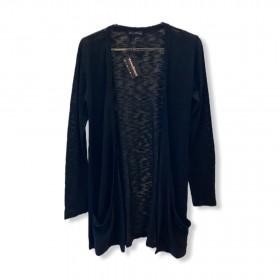Cardigan longo com bolsos em tricô preto