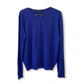 Casaquinho tricô azul ziper nos punhos