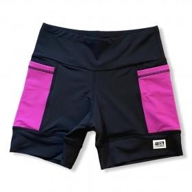 Shorts de compressão 2 bolsos laterais Square em sportiva preto bolso rosa