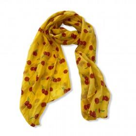 Echarpe amarela estampa cerejas
