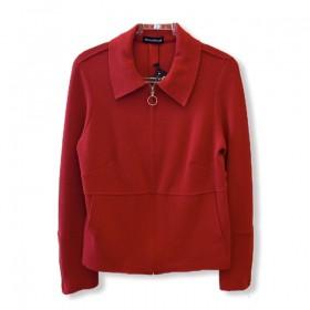 Jaqueta em buclê vermelha com zíper