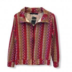 Jaqueta em malha estampada com ziper