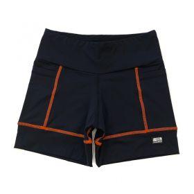 Shorts de compressão 2 bolsos Square em sportiva preto costura laranja