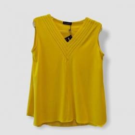 Regata amarela decote V pesponto