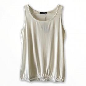 Regata blusê com elástico na barra cor off white