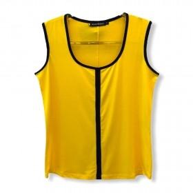 Regata frisos contrastantes amarela e preto