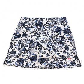 Saia fitness mil bolsos estampa Floral Azul  (5 bolsos)