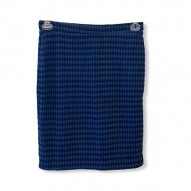Saia lãzinha xadrez preta e azul