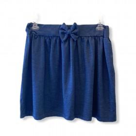 Saia moletom blue jeans com lacinho