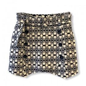 Saia shorts abotoamento duplo estampada