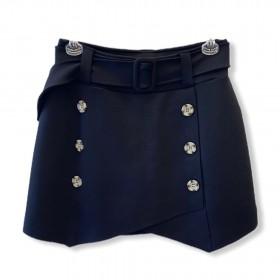 Saia shorts abotoamento duplo preta