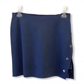 Saia-shorts em neoprene azul marinho com botões metal