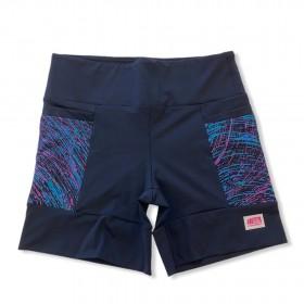 Shorts 4 bolsos em sportiva preto e bolso rosa estampado