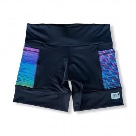 Shorts com bolso secreto em sportiva preto bolso colorido