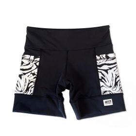 Shorts com bolso secreto em sportiva preto bolso jacquard pb