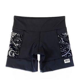 Shorts com bolso secreto em sportiva preto bolso mescla aveludado