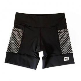 Shorts com bolso secreto em sportiva preto bolso telinha cinza