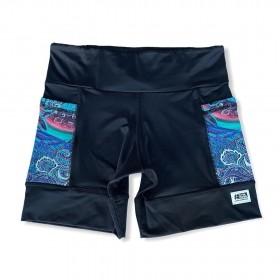 Shorts com bolso secreto em sportiva preto bolso verde estampado