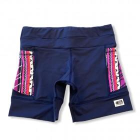 Shorts de compressão 1500 bolsos em compress azul marinho bolsos estampa tribal