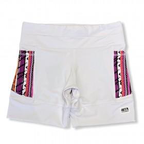 Shorts de compressão 1500 bolsos em compress branco bolsos estampa tribal