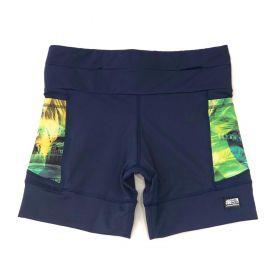 Shorts de compressão 1500 bolsos em compress marinho com bolsos laterais estampa Brasil