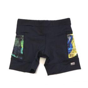 Shorts de compressão 1500 bolsos em compress preto com bolsos laterais estampa Brasil