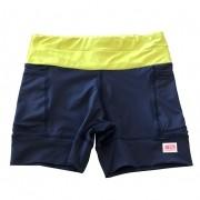Shorts de compressão 1500 bolsos em sportiva azul marinho cós amarelo